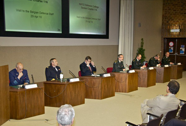 Belgian Defense Staff panel addressing SC 116 (from left to right: Col Phillippe Schneidauer, Capt Hofman, Amb Kerckhove, LtGen Andries, Col Housen, Col Breyne and Col Schneidauer)
