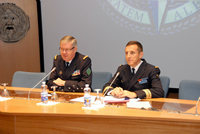 French Chief of Defence Staff Admiral Édouard Guillaud addresses SC 121  and NRCC 8 during the Eisenhower Lecture (right NDC Faculty Advisor Captain Gauthier - FRA N).
