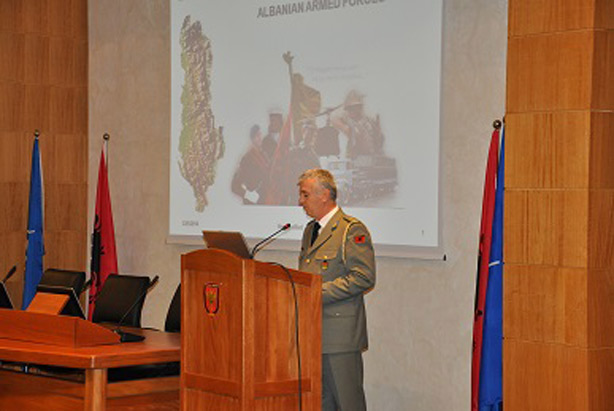 Colonel Kuçi welcomes Senior Course 124 to the Albanian Training and Doctrine Centre (TRADOC).