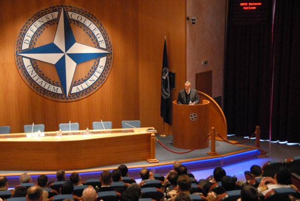 "Gen Allen during the Lecture of Opportunity to Senior Course 125 on ""The Art of Strategic Thinking in Politics"""