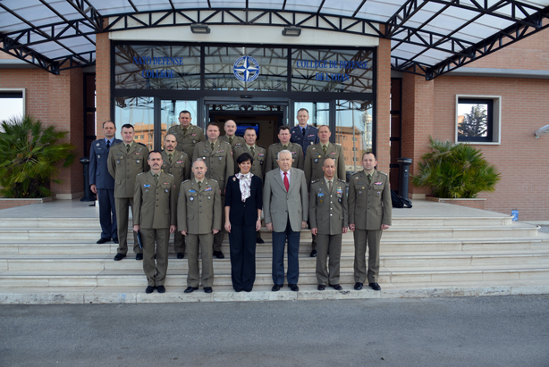 Polish National Defence University delegation with NDC Dean and Director of Management