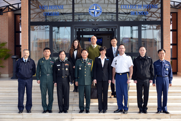 Republic of Korea's - Joint Chiefs of Staff  delegation with NDC Dean Dr Daniels Skodnik (centre right), at the NDC
