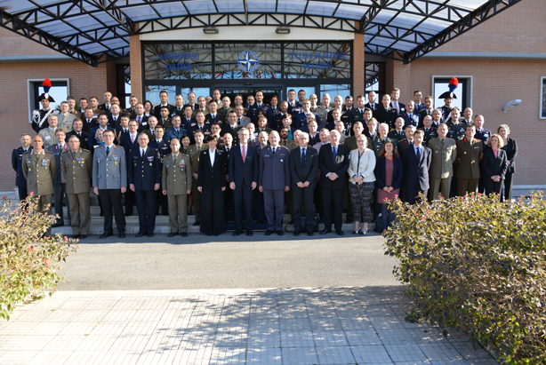 Senior Course 126 photo, with NATO Secretary General Jens Stoltenberg, NDC Commandant, Dean and Flag Officers