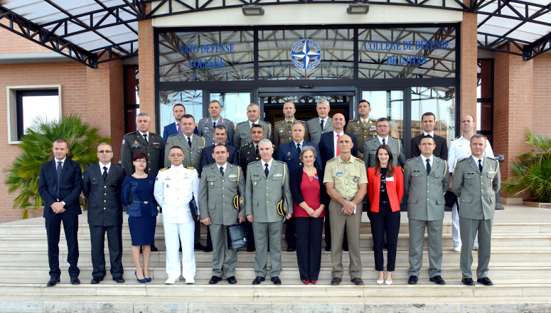 Albanian Training and Doctrine Command Delegation group photo at the NDC