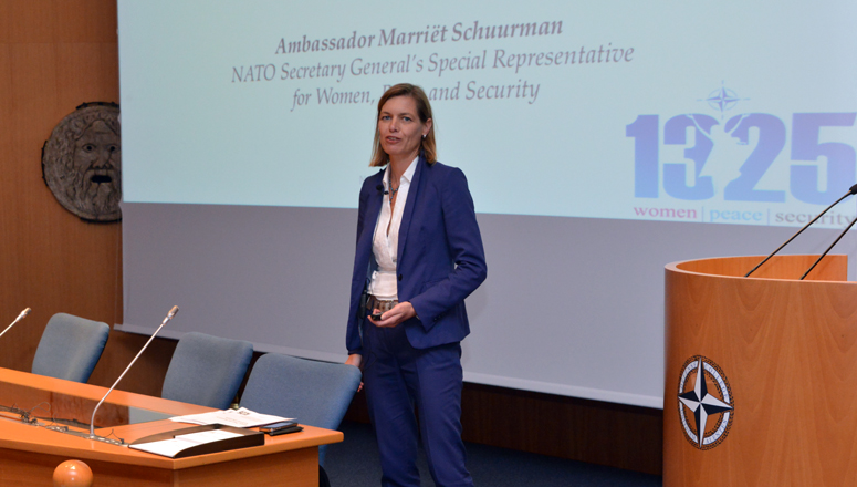 Ambassador Marriët Schuurman addresses Senior Course 127, NDC Faculty and Staff.