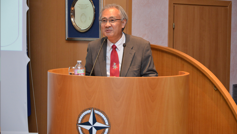 Ambassador Ishii addresses Senior Course 128, NDC faculty and staff.