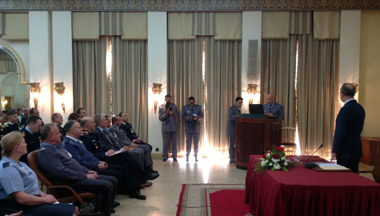 The NDC delegation, headed by the Commandant, MGen Bojarski, attends briefings on Moroccan foreign and defence policy at the Armed Forces Officers' Club in Rabat.