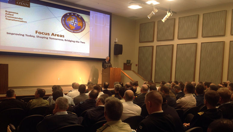 Adm Nielson, Deputy Commander ACT, welcomes SC 128 to ACT HQ in Norfolk.