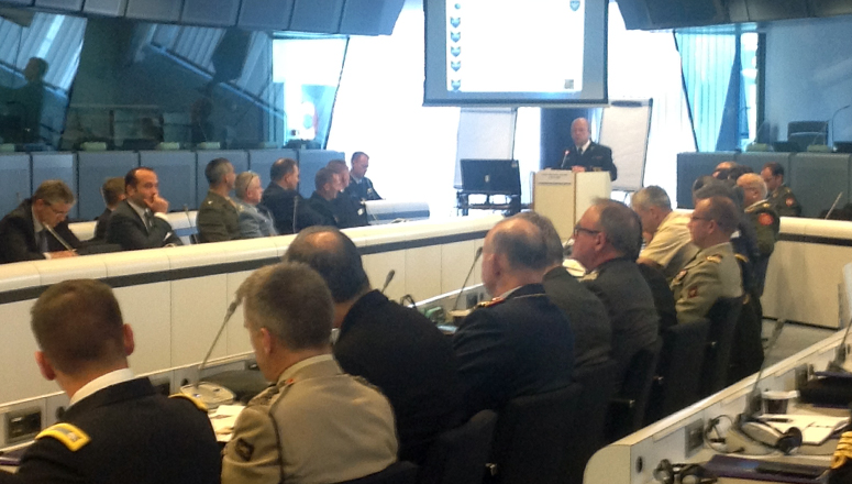 RADM Waldemar Glusko, Deputy Director General EU Military Staff, briefs SC 128 on the role of the military in the EU.