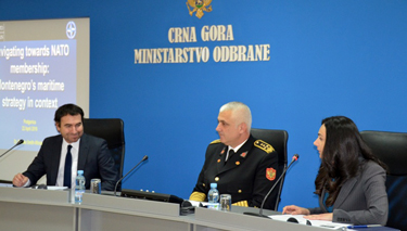 Admiral Dragan Samardzic and Mrs Alma Adrovic welcome Dr Smith-Windsor to Podgorica.
