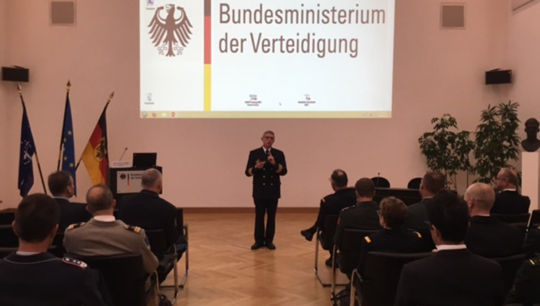 Konteradmiral Hans-Christian Luther welcomes SC 129 to the German MOD.