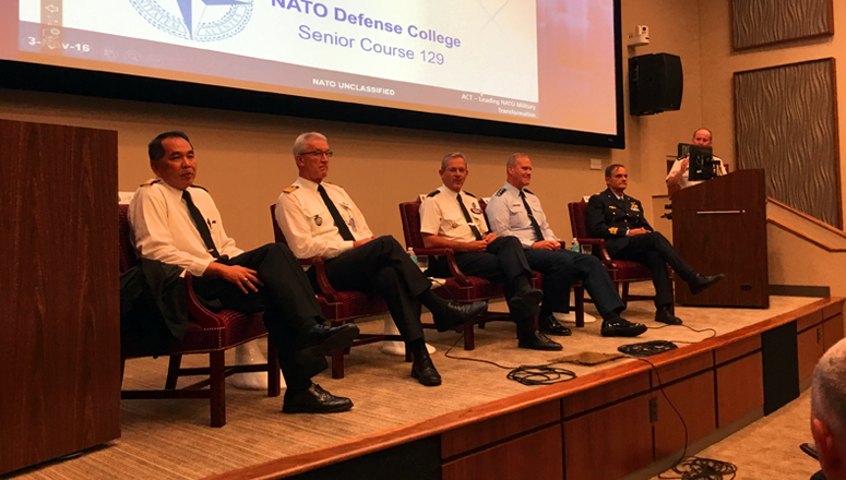 From left to right: RADM Gumataotao, ADM Nielson, Gen Mercier (SACT), LGen Lofgren and MG Salamida engage with the audience, while Col Jan Abts (NDC) moderates.