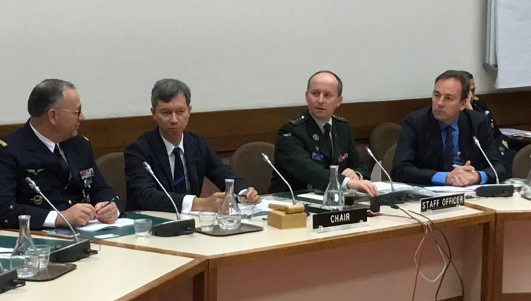 Mr Gabriel Bernier during his presentation. From left to right: MG Valentin, NDC DAO; Mr Gabriel Bernier, NATO HQ International Staff; COL Jan Abts, NDC Faculty Advisor and moderator; Mr Jens Rink, SC129 participant.