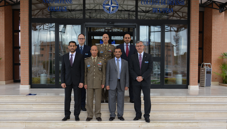 MajGen Rashad Al Sa'adi and members of the UAE National Defense College delegation, with NDC Dean BrigGen (ret.) František Mičánek, Director of Management BrigGen Salvatore Carta, the Head of the Middle East Faculty Colonel Filippo Bonsignore and senior NDC leaders