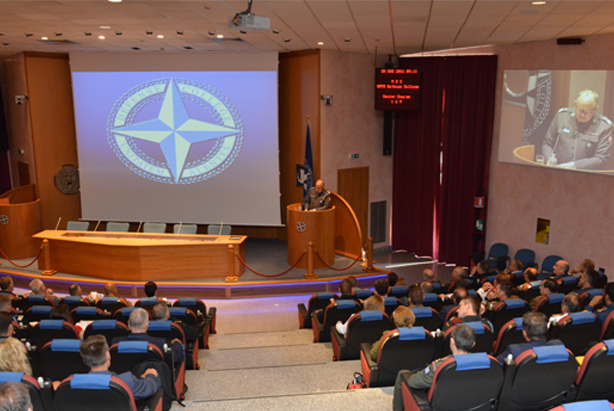 NDC Commandant Major General Janusz Bojarski welcomes Senior Course 129.