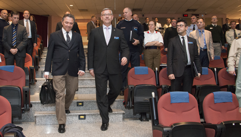 Ambassador Öztürk and Dean BrigGen (ret.) Mičánek enter the Mainard-Thorn Main Auditorium.