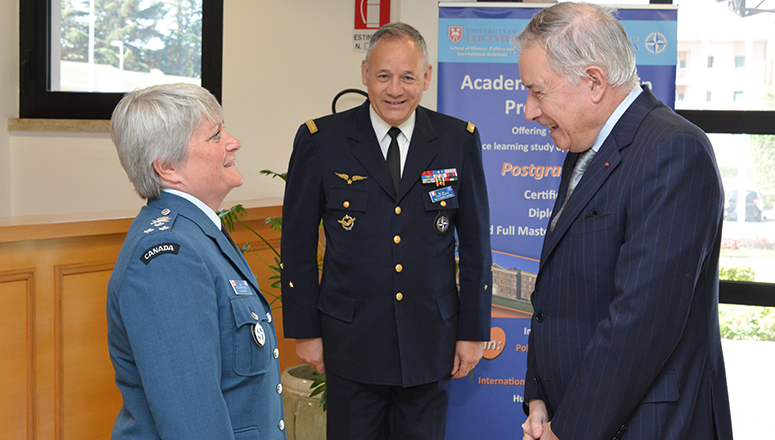 NDC Commandant Lieutenant General Chris Whitecross welcomes the Ambassador of France to the Holy See H.E. Philippe Zeller; (l to r) LtGen Whitecross, MGen Valentin and Ambassador Zeller
