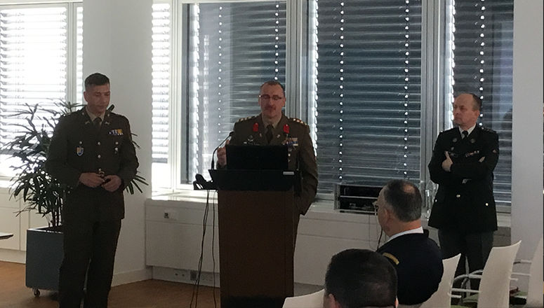 Col Alain Duschene during his welcome address. On the left, LtCol Rohen (LUX A), the first speaker; on the right, Col Jan Abts (BEL A), moderator; sitting in the first row, MG P. Valentin (FRA F), the NDC DAO and Head of Delegation.