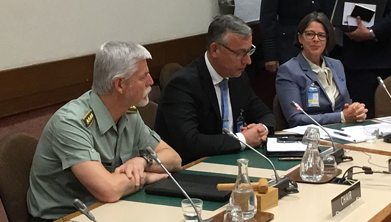 General Pavel, Chairman of the Military Committee, welcomed participants to NATO HQ. On his left, Brig Gen (ret) Mičánek, Dean of the NDC, and Ms Annette Hurum, Faculty Advisor at the College, who moderated the debates.