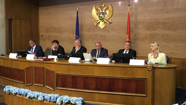 Members of the Parliamentary Committee of Security and Defence of Montenegro in discussion with Course Members. From left to right: Mr Vuletić, Mr Vuković, Mr Stanišić (Chairman), Mr Lazović and Mr Čavor. On the right, Mrs Baćović, the Secretary of the Committee.