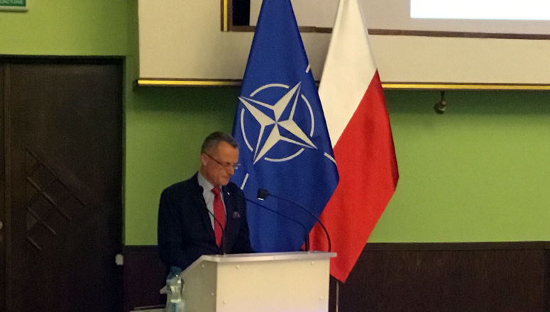 Mr Magierowski, Undersecretary of State in the Polish Ministry of Foreign Affairs, during his presentation
