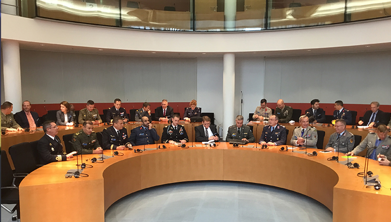 Course Members in the Foreign Affairs Committee meeting room of the German Parliament