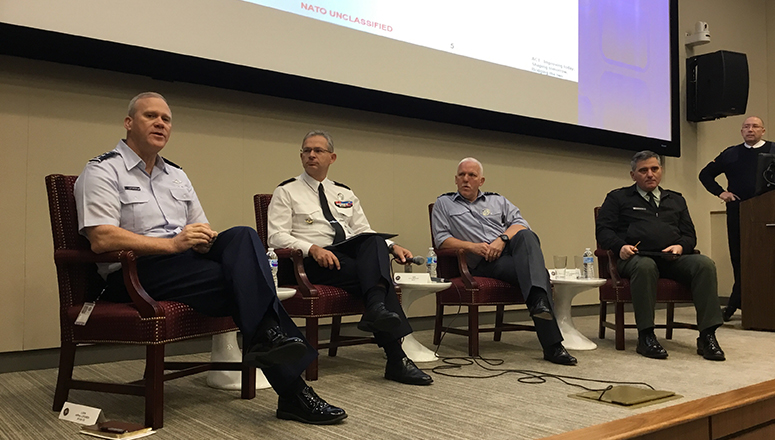 From left to right:  LtGen Lofgren, (Deputy Chief of Staff), Gen Mercier (SACT), Air Marshal Stacey (COS), and BGen Tsouganatos (Assistant Chief of Staff) dedicated their time to answering questions from participants. The discussion was moderated by Navy Captain Altmeier Faculty Advisor at the NDC (standing on the right).
