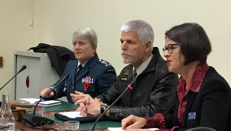 The first briefing was by Gen. P. Pavel, Chairman of the Military Committee (centre). Seen here with NDC Commandant LtGen Chris Whitecross (left) and NDC Faculty Adviser Spec. Dir. Annette Hurum (right), moderating.