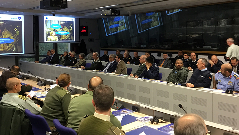 SC131 at the European Union in Brussels during BGen Krieb's presentation on the EUMS.