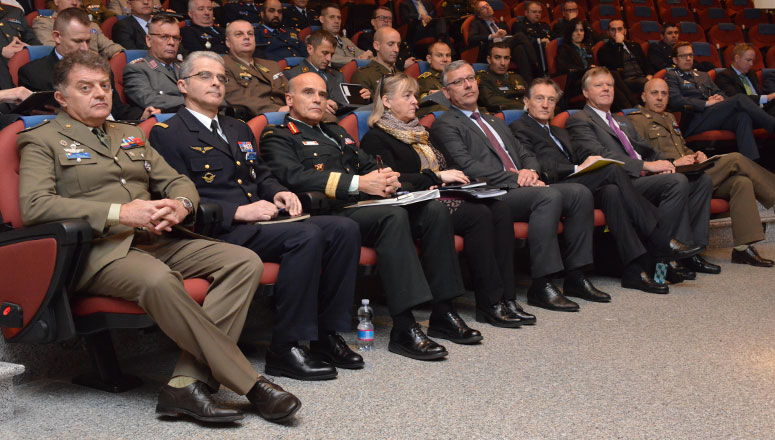 High-level NATO officials attending Senior Course 131 Study Project presentations: (front row, l to r) NDC Director of Management BrigGen Ramponi, Director of Academic Operations BrigGen Pincet, Deputy Commander Allied Joint Force Command Naples LtGen Juneau, Permanent Representative of Canada to NATO H.E. Ambassador Buck, NDC Dean BrigGen (ret.) Mičánek, Permanent Representative of Italy to NATO H.E. Ambassador  Bisogniero, Head of the Research Division Dr Larsen, and Head of the Middle East Faculty Col Bonsignore