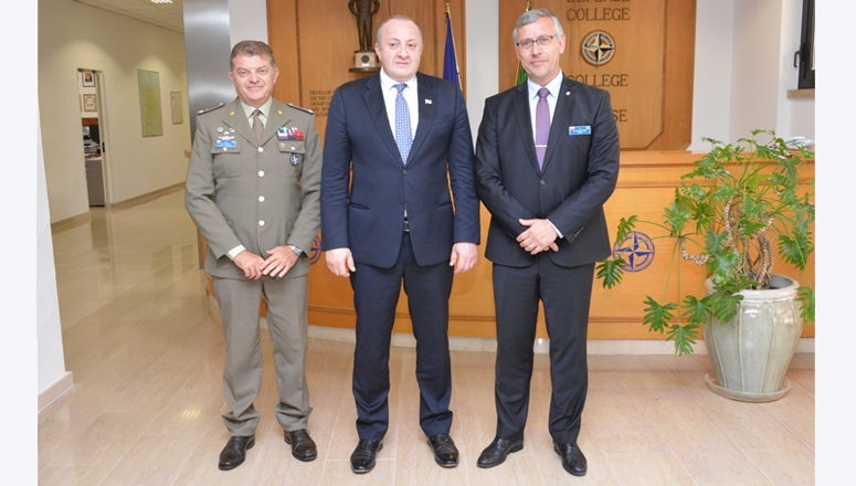 The President of Georgia at the NATO Defense College (r to l) NDC Dean and Acting Commandant Brig Gen (ret.) František Mičánek; the President of Georgia H.E. Giorgi Margvelashvili; and NDC Director of Management Brig Gen Mario Ramponi