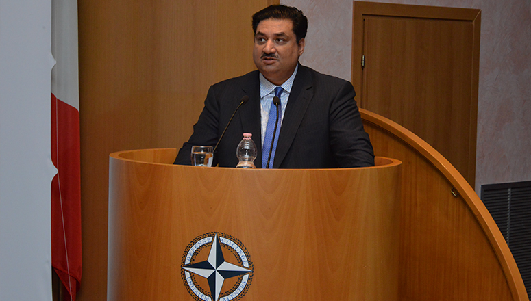The Minister of Defence of Pakistan, H.E Eng. Khurram Dastgir Khan delivers a lecture on <i>Pakistan's role in regional stability</i>