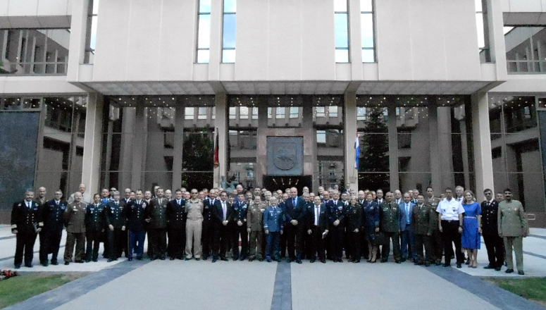 SC 132 in front of the Lithuanian Parliament building in Vilnius
