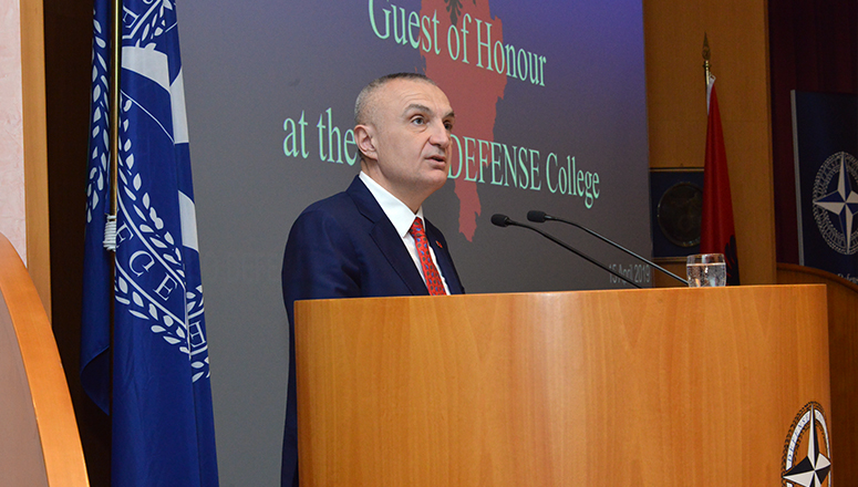 "President Meta delivers a Lecture of Opportunity on ""Albania's key role towards peace, stability and security in the region, and its contribution to the integration of Western Balkan countries into NATO""."