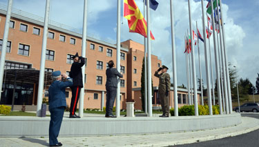 Flag-raising ceremony to mark the accession of the Republic of North Macedonia to NATO at the NATO Defense College
