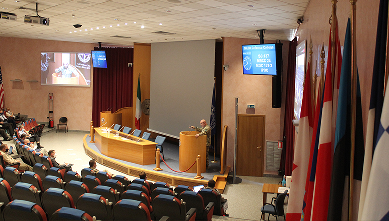 Commander of the LANDCOM during closing remarks of the lecture in the auditorium