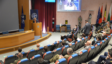 Minister Radmila Sherekinska Jankovsksa addressing Senior Course 138 in the main auditorium.