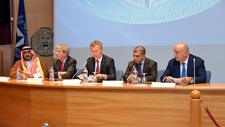 First panel: (l to r)  His Excellency Sheikh Thamer Ali Sabah Al-Salem Al-Sabah, President of the National Security Bureau of Kuwait; the Italian Minister of Foreign Affairs, Mr Paolo Gentiloni; NATO Secretary General, H.E. Jens Stoltenberg; His Royal Highness Prince Rashid Bin El Hassan of the Hashemite Kingdom of Jordan; and the President of the Italian delegation to the NATO Parliamentary Assembly, Mr Andrea Manciulli.