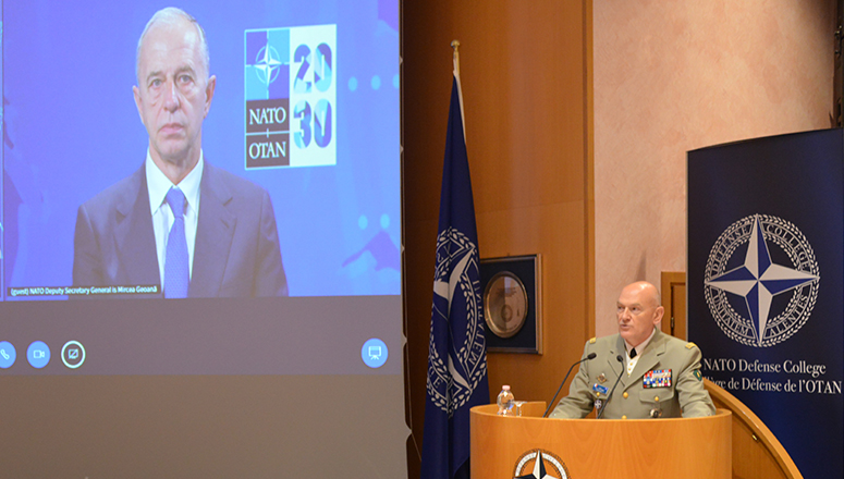 LGEN Olivier Rittimann, Commandant of the NATO Defense College, during the welcoming address.