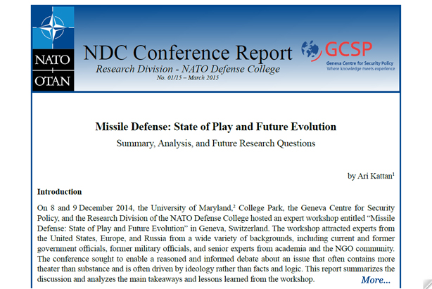 Conference Report - Missile Defense: State of Play and Future Evolution