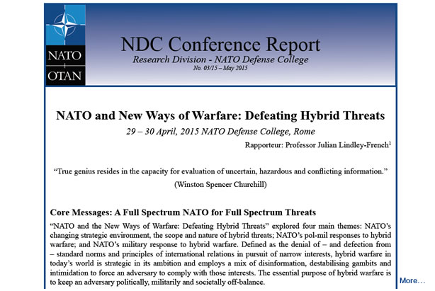Conference Report: NATO and New Ways of Warfare: Defeating Hybrid Threats