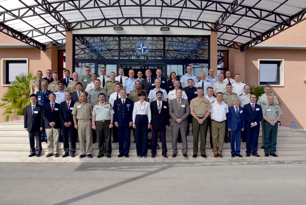Participants to the Generals, Flag Officers and Ambassadors' Course 2015-1 with NDC Dean Dr Daniels Skodnik, Course Director Major General Valentin and senior NDC leaders at the NATO Defense College