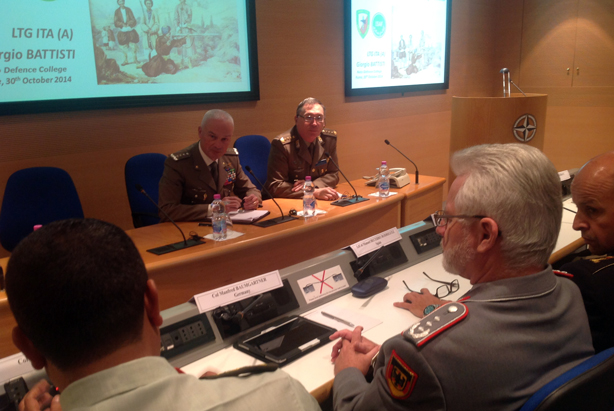 NRDC-ITA Commander Lieutenant General Battisti (left) with the Head of the NDC Middle East Faculty Colonel Morabito