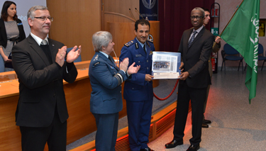 NRCC-16 Course President BGEN Meshal Rowished A. Alenazi receives his graduation diploma from Mauritanian Minister of Defence Diallo Mamadou Bathia, Commandant LtGen Chris Whitecross and Dean BGen (ret.) František Mičánek.