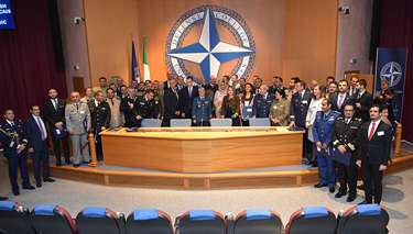 NRCC-18 photo with Defence Minister Fifor, Ambassadors and distinguished guests, Commandant, Dean, Middle East Faculty and Staff
