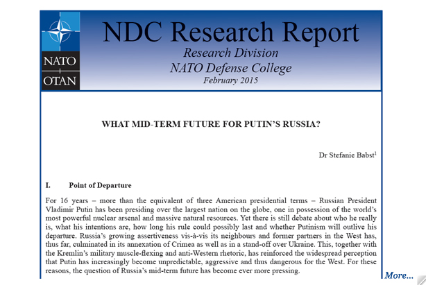 Research Report: What mid-term future for Putin's Russia?