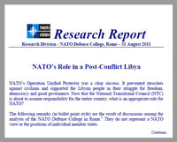 Report: NATO's Role in a Post-Conflict Libya